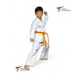 TA 1001 WT DOBOK | Άσπρο V χωρίς γράμματα στην πλάτη. Παντελόνι με λάστιχο στη μέση. Σύνθεση: 65% πολυεστέρας, 35% βαμβάκι.