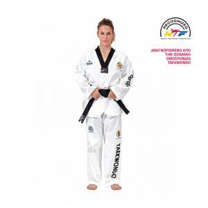 "TA 1047 DOBOK | Αναγνωρισμένο από την Ισπανική ομοσπονδία Taekwondo. Σακάκι με μαύρο V. Κέντημα ""DAEDO"" στο μανίκι.Κέντημα: ""TAEKWONDO"" στο παντελόνι."
